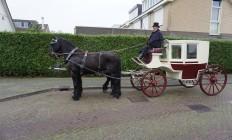 Trouwkoets Rood-Wit met 2 Friese paarden